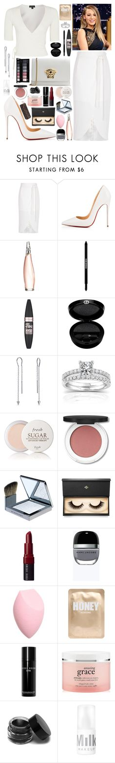 """""""Untitled #293"""" by rawdar ❤ liked on Polyvore featuring River Island, Christian Louboutin, Donna Karan, Edward Bess, Maybelline, Giorgio Armani, Bling Jewelry, Annello, Fresh and Burberry"""
