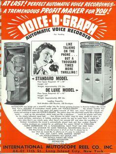 このVoice-o-Graphは1940年代に製造されていたもので、コインを投入して電話ボックスの受話器から直接アナログレコード(6インチ)にカッティングできるもので、ニューヨークのMUTOSCOPEという会社が製造していました。