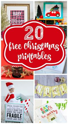 20 FREE Christmas Printables that will make your space festive! Get them on www.prettymyparty.com.
