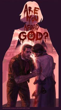 "Bioshock Infinite: Runs in the Family by Marianne-Khalil ""Are you afraid of God, Booker? But I'm afraid of you. Bioshock Infinite, Bioshock 2, Bioshock Series, Bioshock Rapture, Infinite Art, Shall We Date, Arte Horror, Fanart, Video Game Art"