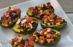 10 minute tasty salsa recipe, Hunt's Diced tomatoes, Black Bean and Tomato Salsa Topped Grilled Avocados #recipe, black bean salsa, easy southwestern salsa recipe,