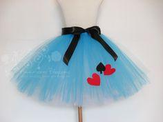 Alice in Wonderland Costume Adult Tutu Blue White Teen Halloween Marathon Tutu Disney Marathon runners Halloween by American Blossoms