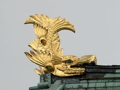 A golden shachihoko on the roof of Nagoya-Castle, Aichi, Japan.