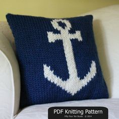 Pillow KNITTING PATTERN / Cushion / Anchor / by FiftyFourTenStudio