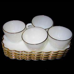 Vintage Anchor Hocking 8 pc Snack Set Milk Glass Gold Trim