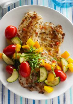 Fast Fish Skillet – Pesto, peppers, and grape tomatoes add color and additional flavor to tilapia fillets in this delicious Healthy Living Fast Fish Skillet recipe.