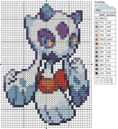 Pokemon - Froslass by Makibird-Stitching Cross Stitch Charts, Cross Stitch Designs, Cross Stitch Patterns, Cross Stitching, Cross Stitch Embroidery, Pixel Art, Pokemon Chart, Pokemon Cross Stitch, Perler Bead Art
