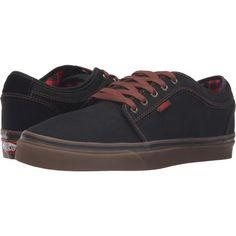 Vans Chukka Low ((Buffalo Plaid) Black/Gum) Men's Skate Shoes ($53) ❤ liked on Polyvore featuring men's fashion, men's shoes, men's sneakers, black, mens sneakers, mens black skate shoes, men's low top shoes, men's low top sneakers and mens shoes