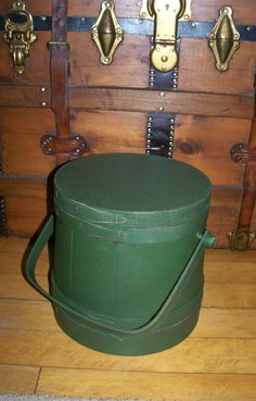 Primitive Style Painted Green Firkin with Wood Bands Swing Handle Canted Sides #NaivePrimitive