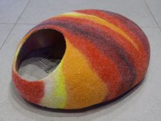 Cat cave/cat bed/cat house/red stone/felted cat cave by elevele, $67.00: