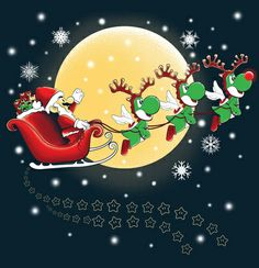 Mario & Yoshi X-mas Super Mario Bros, Super Mario Brothers, Yoshi, Christmas Images, Christmas Cards, Xmas, Christmas Background, Christmas Wallpaper, Noyeux Joel