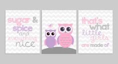 Instant Download Printable Nursery Wall Art 11 x 14 Sugar and Spice Owls Pink Purple and Gray