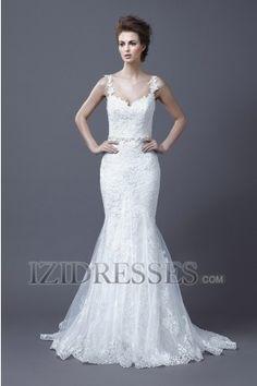 Trumpet/Mermaid Straps Sweetheart Lace Wedding Dress - IZIDRESSES.COM
