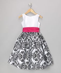 Fuchsia & Black Damask Velvet Dress - Toddler & Girls