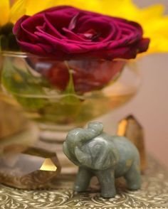 Elephants are symbols of strength, wisdom and loyalty, and when its trunk is facing upwards, it is considered especially auspicious—representing prosperity, victory and good luck. Place an #elephant in your home to bring good luck and attract prosperity. Whatever room you place it in, make sure the elephant is facing into the room. Many people believe that if it is facing out, you will lose the good energy that the elephant will bring in. #aventurineelephant #jadeelephant #elephantstone
