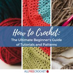 This ultimate beginner's crochet guide makes sure you have every possible resource at your disposal: videos for visual learners, step-by-step crochet instructions with photos, and a variety of techniques for learning the crochet basics. Beginner Crochet Tutorial, Crochet Stitches For Beginners, Beginner Crochet Projects, Crochet Instructions, Basic Crochet Stitches, Crochet Videos, Crochet Basics, Crochet Tutorials, Beginner Crochet Patterns