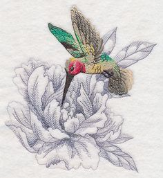 Secret Garden Peony and Hummingbird design (M12003) from www.Emblibrary.com