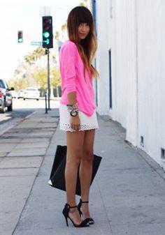 pink, white lace skirt, killer black shoes