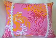 """Lilly Pulitzer Lee Jofa Bimini Pinks Oranges Both Sides! Custom Pillow Cover with Trim! Throw Pillow, Decorative Pillow 15""""x19"""" by yorkshiredesigns on Etsy"""