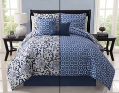 Victoria Classics Cameron 5 Piece Reversible Comforter Set In Blue - Beyond the Rack Luxury Comforter Sets Queen, Queen Bedding Sets, Luxury Bedding, Victoria, Blue Comforter, King Comforter, New Beds, Bed Spreads, Luxury Homes