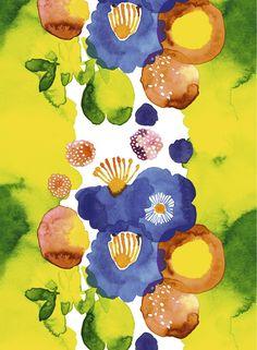 Juhannustaika cotton fabric by Aino-Maija Metsola Finnish design by Marimekko Textile Patterns, Textile Design, Fabric Design, Pattern Design, Print Patterns, Floral Patterns, Pattern Vegetal, Marimekko Fabric, Art Watercolor