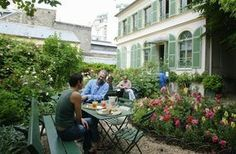 La terrasse du Musee de la Vie Romantique at 16 rue Chaptal 9e close to the metro Saint Georges .    The novelist George Sand and her lover  Chopin lived there. After the visit you can take a rest  and enjoy the iced tea in  summer in the quiet , the peace of this romantic french terrasse.