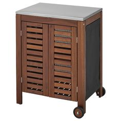 ÄPPLARÖ / KLASEN Charcoal grill with cart & cabinet, brown stained, stainless steel color - IKEA