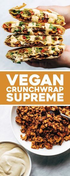 This vegan crunchwrap is INSANE! Stuff this bad boy with whatever you like - I made it with sofritas tofu and cashew queso - and wrap it up, fry, and devour! Favorite vegan recipe to date. #vegan #veganrecipe #crunchwrap #vegancrunchwrap #sofritas #cashewqueso   pinchofyum.com