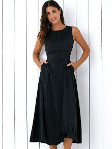 Sleeveless Round Neck Loose Fitting Midi Dress