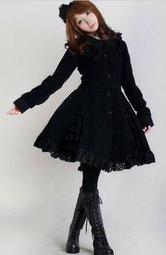 princess of the tailor Black lolita dress gorgeous lady cascade of bud silk coat #lolita #coat #MyeSoul