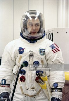 Cernan is suited up to take part in the launch countdown demonstration test on 6th May 1969. Apollo 10, with astronauts Thomas Stafford, John Young and Cernan aboard, was launched on 18th May 1969 on a lunar orbital mission, the dress rehearsal for the Apollo 11 Moon landing mission which took place two months later. Cernan was the Lunar Module pilot on Apollo 10.
