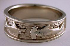 14kt white gold make shark hammerhead shark ring