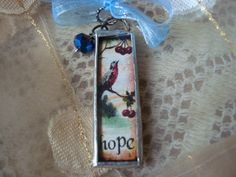 HOPE AND SING  Soldered Glass Pendant by victoriacharlotte on Etsy, $9.95