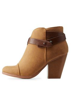 SODA Belt-Wrapped Chunky Heel Ankle Booties: Charlotte Russe
