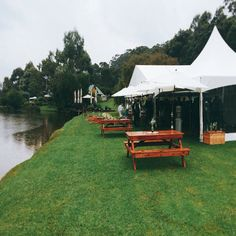 Marquee by the lake ... perfect for a wet day