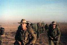 Australian soldiers on patrol  during the Vietnam war.