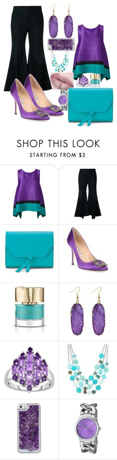 """""""Untitled #174"""" by classychica237 ❤ liked on Polyvore featuring Pleats Please by Issey Miyake, Lime Crime, Irene, Alexandra de Curtis, Manolo Blahnik, Smith & Cult, Mixit and Akribos XXIV"""
