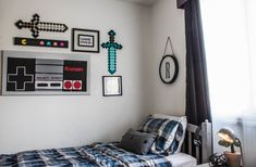 An Industrial Shared Boy's Room with a Hint of Minecraft - video game themed boys room. Blue, black and grey boy's rustic industria - Boys Bedroom Decor, Blue Bedroom, Bedroom Furniture, Furniture Ideas, Modern Bedroom, Boys Bedroom Ideas Tween, Lego Bedroom, Childs Bedroom, Bedroom Small