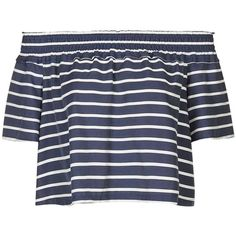 TopShop Stripe Smock Bardot Blouse (53 AUD) ❤ liked on Polyvore featuring tops, blouses, smocked blouse, ruffle top, flutter-sleeve top, off shoulder blouse and topshop blouse