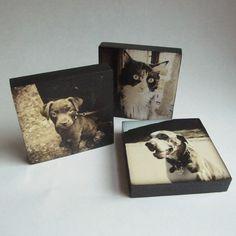 Personalized Dog Portrait, Customized Pet Art Photo Wood Block, Set of 2. $60.00, via Etsy.