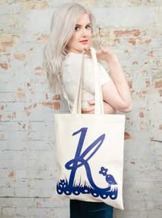 large K and bird tote by Robert Ryan for Alphabet Bags...