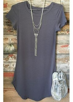 Round Neck Grey Short Sleeve T Shirt on sale only US$19.96 now, buy cheap Round Neck Grey Short Sleeve T Shirt at lulugal.com