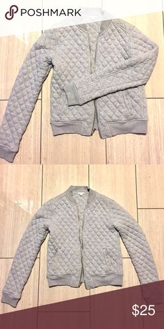 Light grey quilted bomber jacket Light grey quilted bomber jacket. Sweater jacket. Size small. Tufted look. Comfy! GAP Jackets & Coats