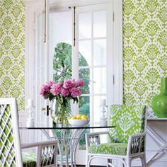 Thai Ikat Wallpaper in Apple Green