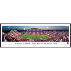 Oklahoma Football - 50 Yard Line - Blakeway Panoramas Ncaa College Print with Standard Frame