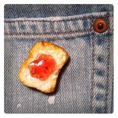 Brooch of jam toast