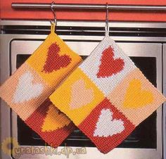 Knitted potholder with hearts
