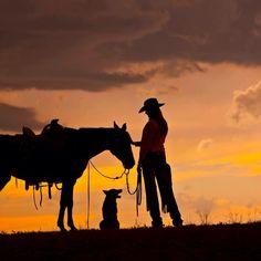 Karoline godsnakker med hesten i solnedgangen mens hunden venter på et par rosende ord ❤️  Frihetens arv, www.frihetensarv.no, Ranch, Slette, Hest, Hund, Wyoming, Amerika, USA, Historie, Romantikk, Ridetur, Lek, Roman, Bok, Leselyst