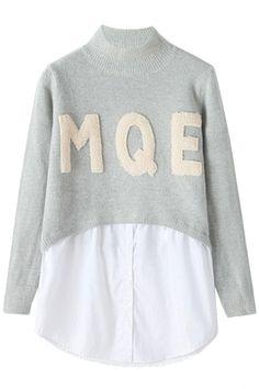 Mock 2PCs High Neck Paneled Sweater Warm Sweaters, Sweaters For Women, Sweater And Shorts, Blouse Designs, Stretch Fabric, Leather Skirt, Graphic Sweatshirt, Sweatshirts, Womens Fashion