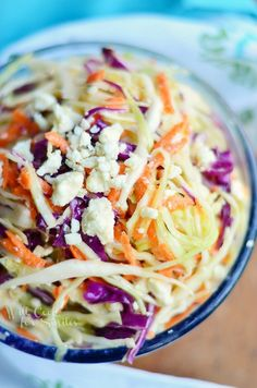 This Blue Cheese Coleslaw is absolutely delicious, made with vinegar dressing and blue cheese crumbles|  from willcookforsmiles.com